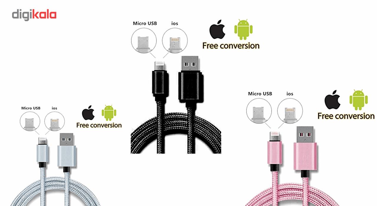 کابل تبدیل USB به Micro USB و Lighting مدل 2In1 به طول 1 متر main 1 2