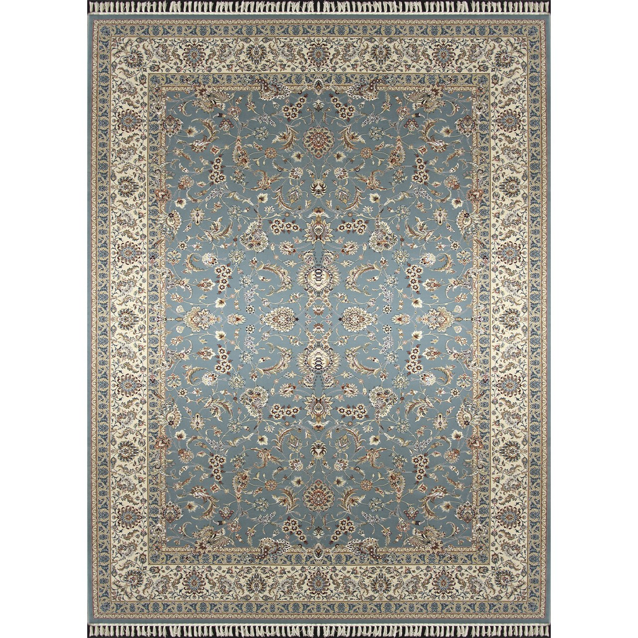 فرش ماشینی زمرد مشهد طرح 14009 زمینه آبی