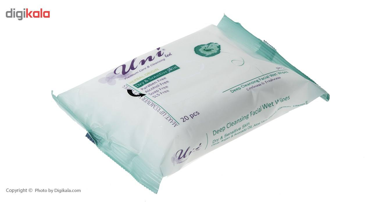 دستمال مرطوب یونی لد مدل Dry And Sensitive Skin بسته 20 عددی main 1 2