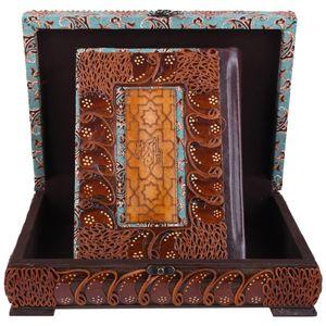 جعبه و قرآن نفیس  پایاچرم طرح لبه طلایی مدل 01-06 سایز بزرگ