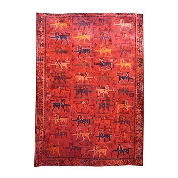 فرش ابریشمی کرامتیان طرح عشایری کد 5949 زمینه قرمز