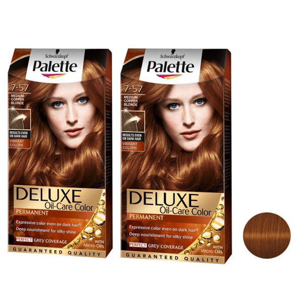 کیت رنگ مو پلت سری DELUXE شماره 57-7 حجم 50 میلی لیتر رنگ مسی مجموعه 2 عددی