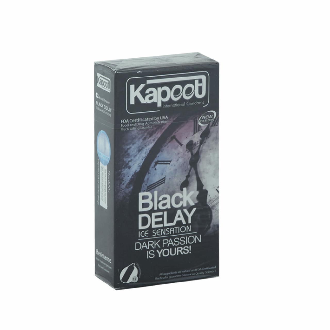 عکس کاندوم تاخیری کاپوت مدل Black Delay  بسته 12 عددی