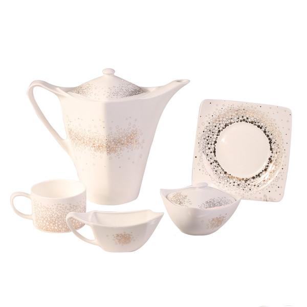 سرویس چای خوری  17 پارچه مورانو طرح گراول طلایی