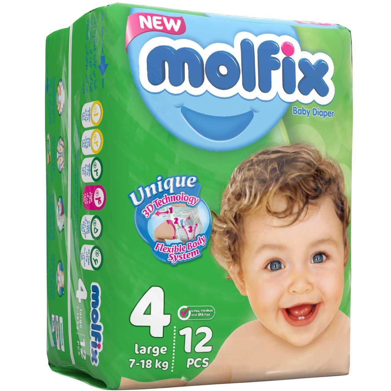 پوشک مولفیکس سایز 4 بسته 12 عددی main 1 1