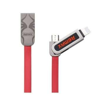 کابل تبدیل USB به microUSB و لایتنینگ ریمکس مدل RC-067t Armor به طول 1 متر