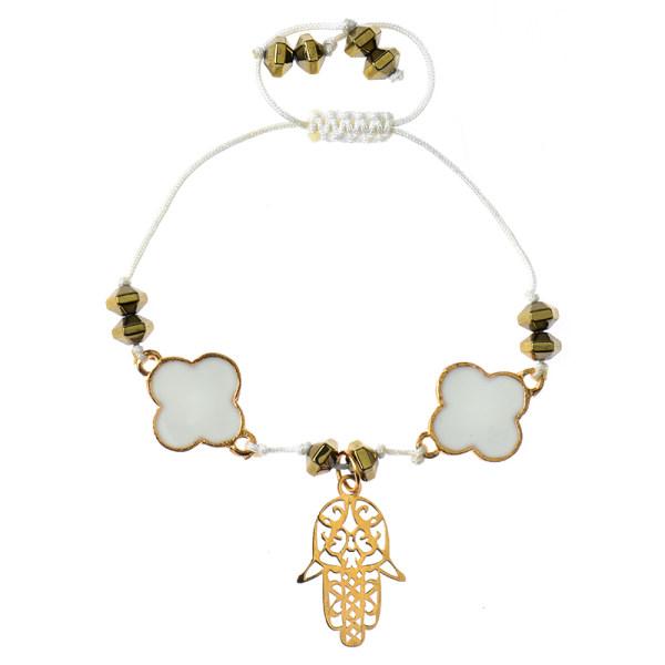 دستبند طلا 18 عیار دخترانه کرابو طرح دست مدل Krd1013