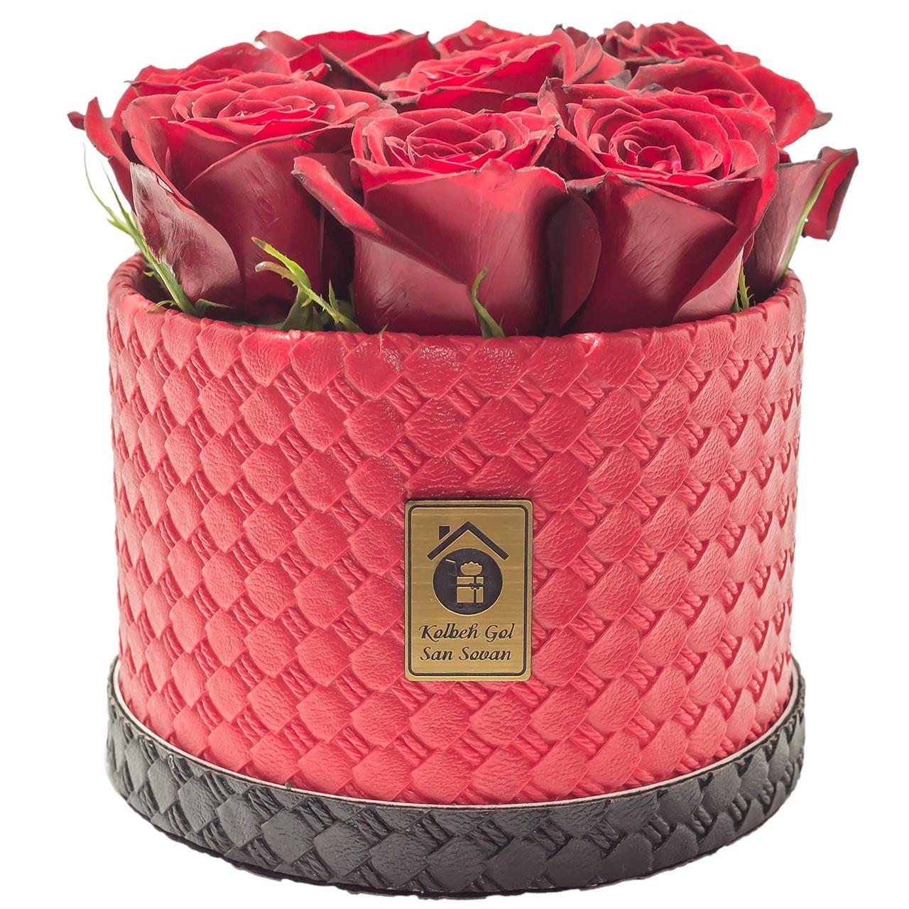 جعبه گل طبیعی کلبه گل مدل رز قرمز هلندی استوانه ای 10 شاخه
