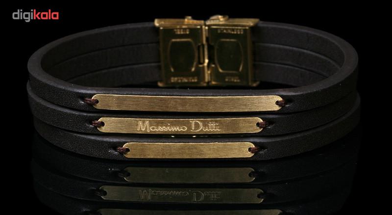 دستبند طلا 18 عیار نفیس گلد مدل طلا و چرم MG19
