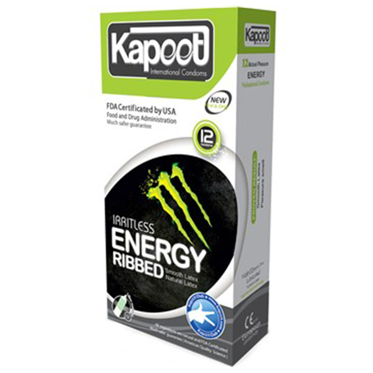 قیمت کاندوم کاپوت مدل انرژی زا energy and ribbed بسته 12 عددی