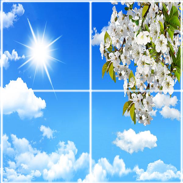 تایل سقفی آسمان مجازی طرح ابر خورشید و گل کد ST 2531-4 سایز 60x60 سانتی متر مجموعه 4 عددی