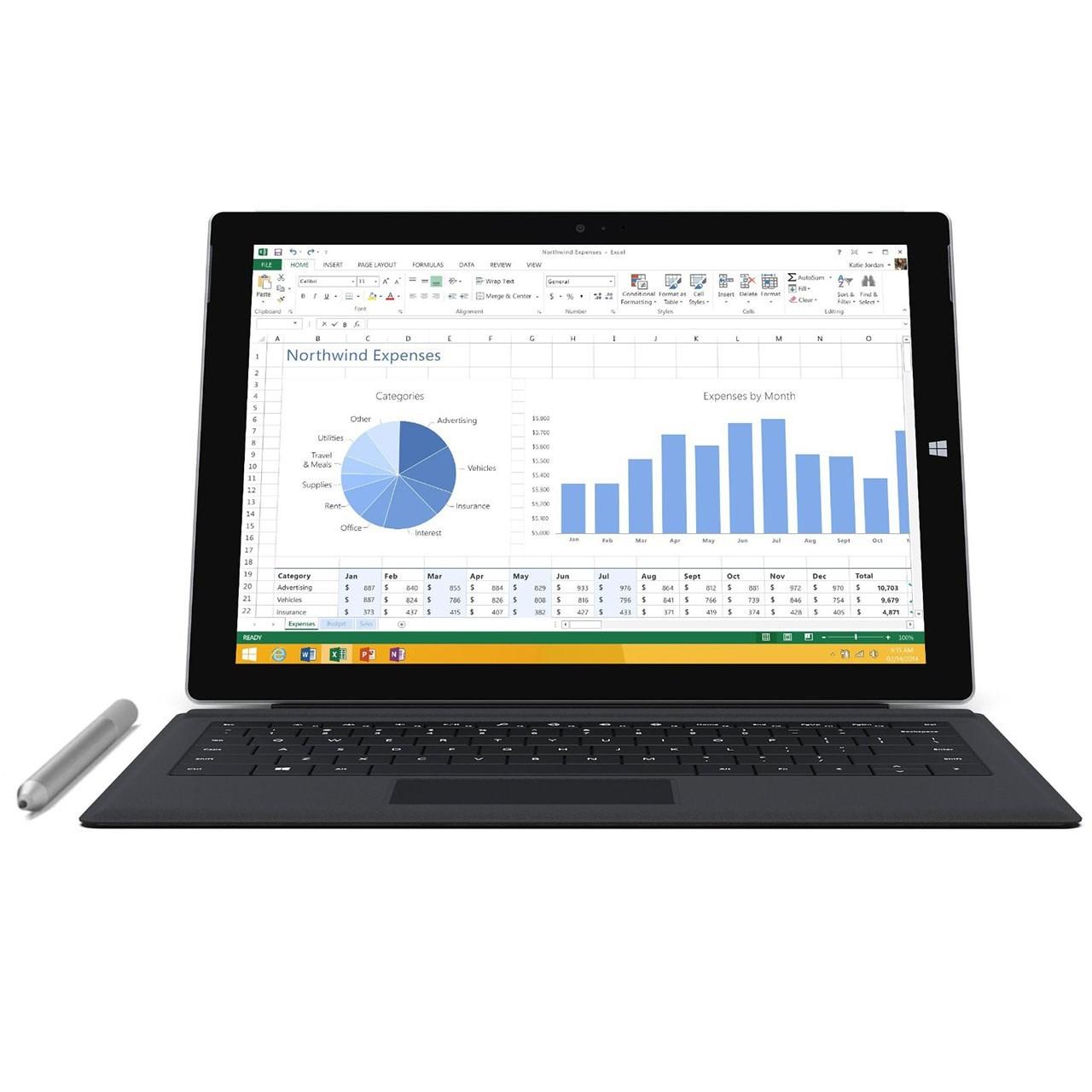تبلت مایکروسافت مدل Surface Pro 3 - A به همراه کیبورد ظرفیت 256 گیگابایت