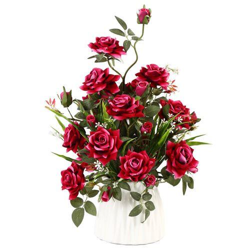 گلدان به همراه گل مصنوعی هومز طرح رز مدل 31714