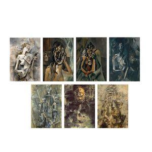 تابلو شاسی گالری هنری پیکاسو طرح کوبیسم آثار پابلو پیکاسو مجموعه 7 عددی