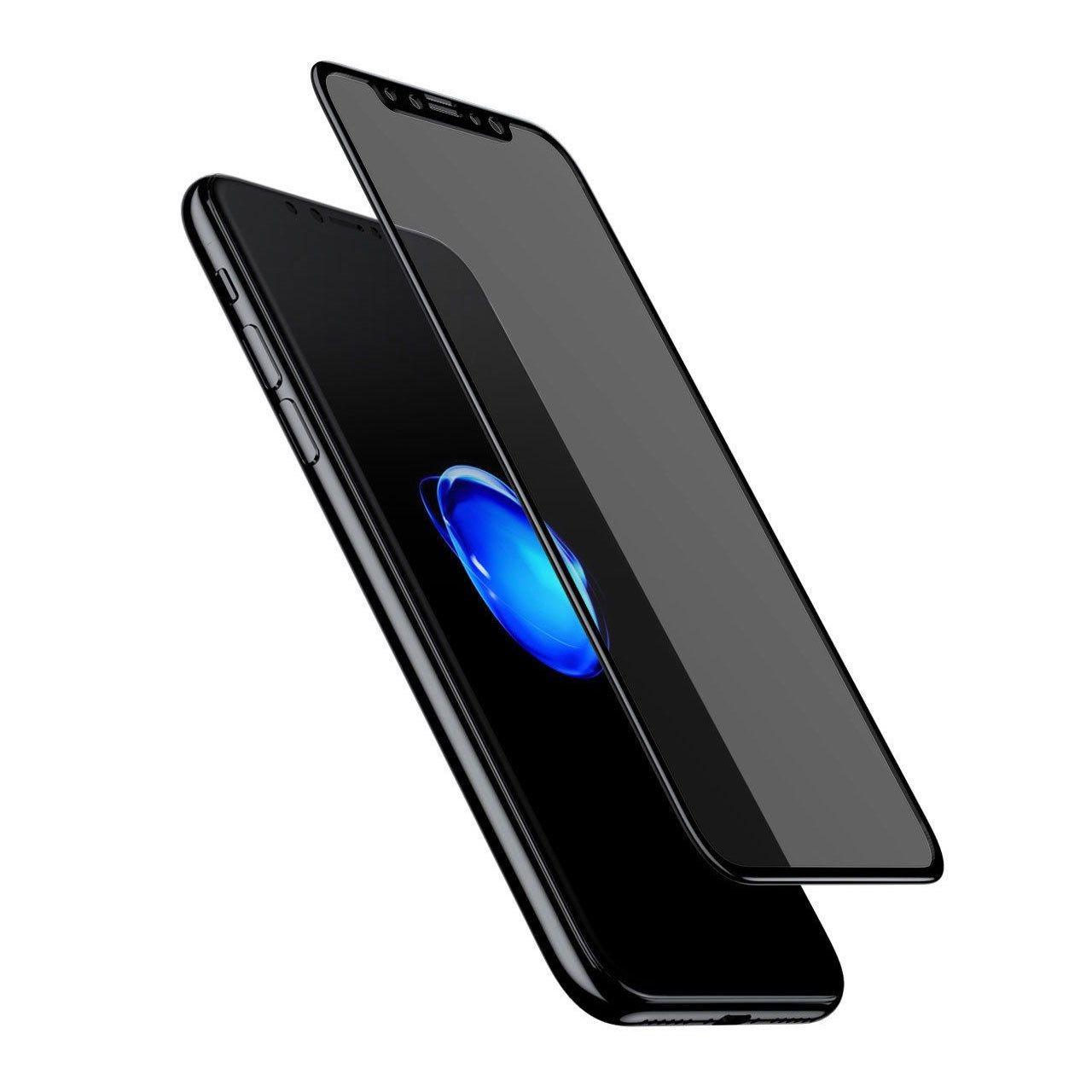 محافظ صفحه نمایش شیشه ای باسئوس مدلSoft edge Anti-peeping مناسب برای آیفون 10/X