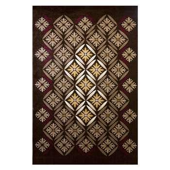 فرش ماشینی ساوین طرح رایان زمینه قهوه ای