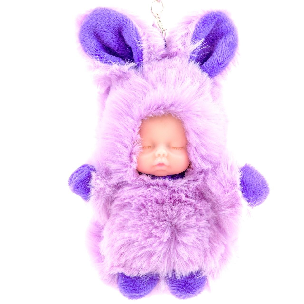 عکس آویز و جاسوئیچی نوزاد لاکچری مدل Purple Rabbit Dress