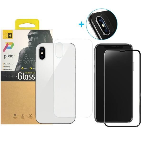 محافظ صفحه نمایش و پشت و لنز تمام چسب شیشه ای تمپرد پیکسی مدل 5D  مناسب برای گوشی اپل آیفون X