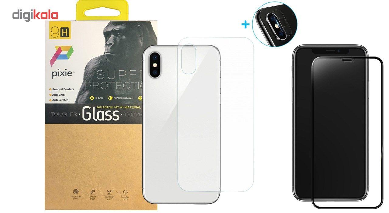 محافظ صفحه نمایش و پشت و لنز تمام چسب شیشه ای تمپرد پیکسی مدل 5D  مناسب برای گوشی اپل آیفون X main 1 1