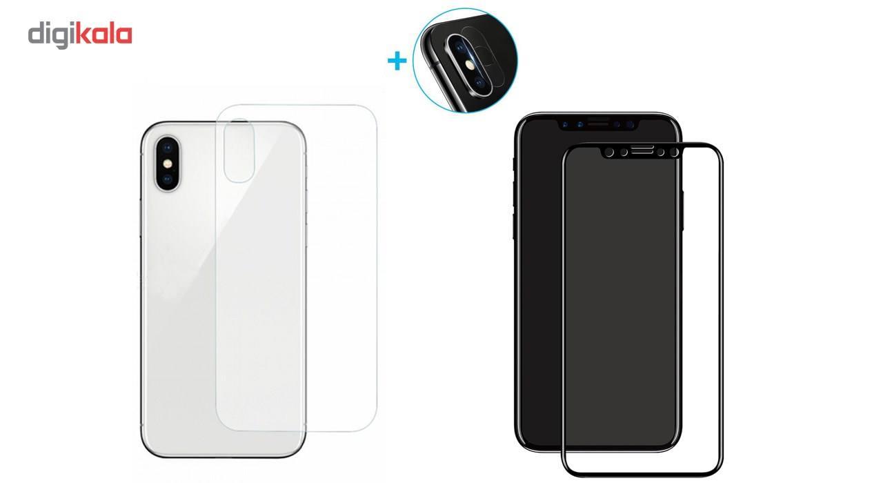محافظ صفحه نمایش و پشت و لنز تمام چسب شیشه ای تمپرد پیکسی مدل 5D  مناسب برای گوشی اپل آیفون X main 1 2