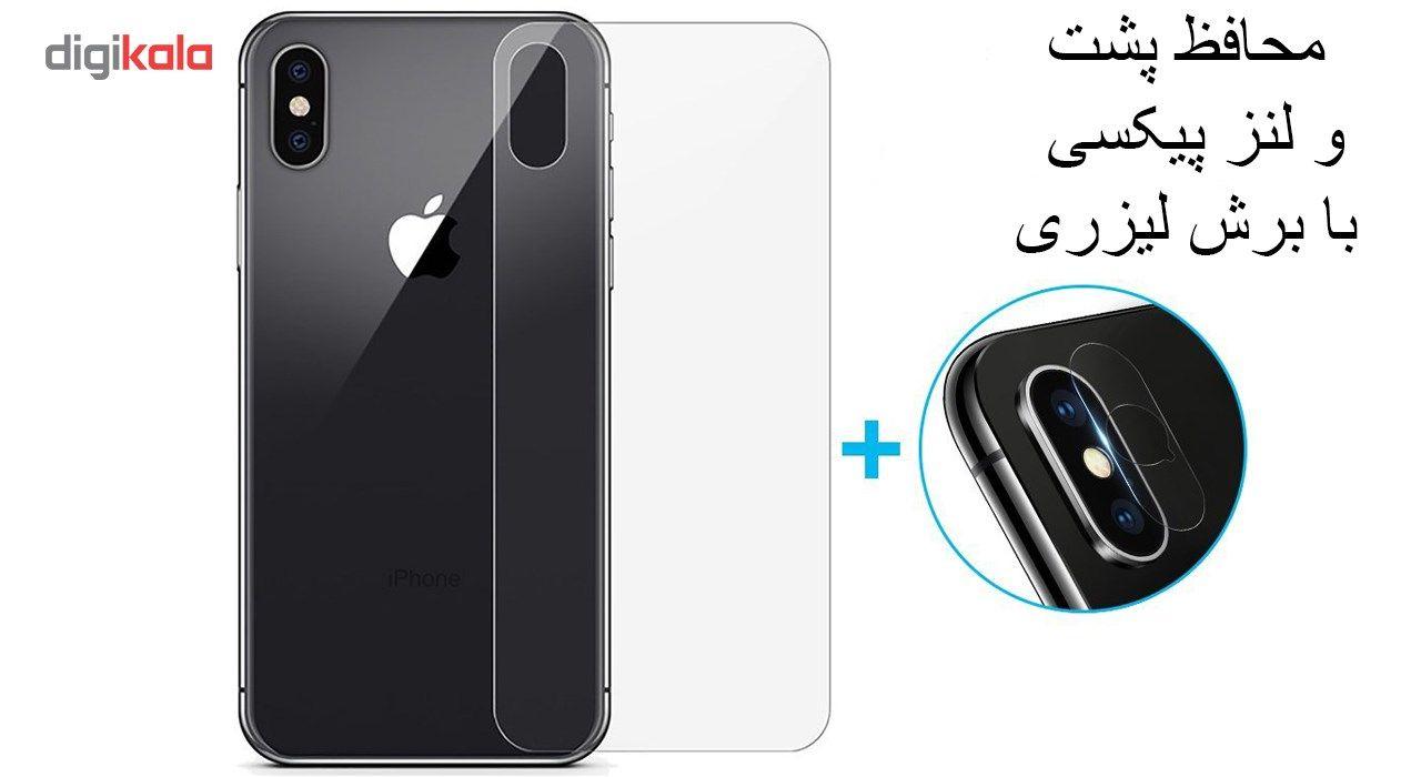 محافظ صفحه نمایش و پشت و لنز تمام چسب شیشه ای تمپرد پیکسی مدل 5D  مناسب برای گوشی اپل آیفون X main 1 4
