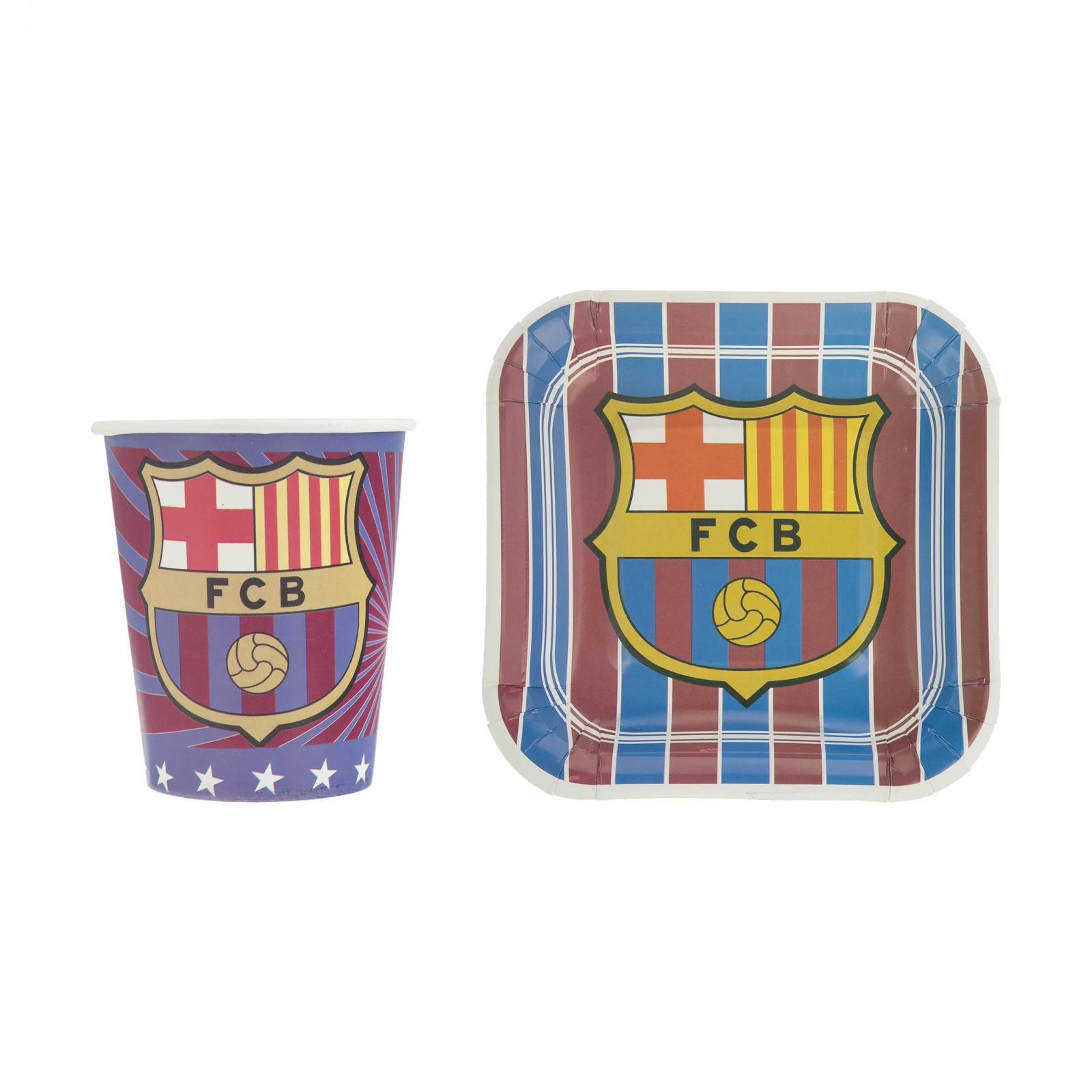 بشقاب و لیوان یکبار مصرف مدل بارسلونا مجموعه 20 عددی