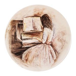 بشقاب دیوارکوب سفالی طرح دختر و پیانو کد D101-1
