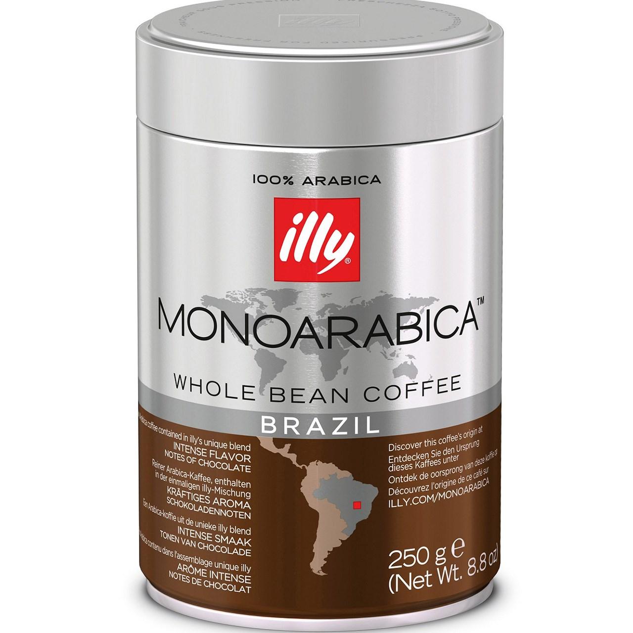 قوطی دانه قهوه ایلی مدل MonoArabica Brazil مقدار 250 گرم