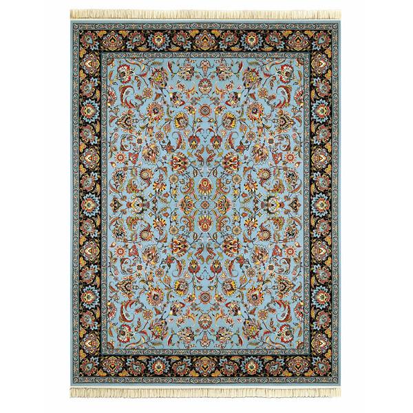 فرش ماشینی داریوش طرح افشان شاه پسند زمینه آبی فیروزه ای