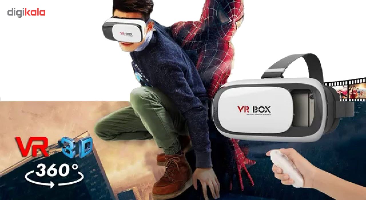 هدست واقعیت مجازی وی آر باکس مدل VR Box 2 به همراه ریموت کنترل بلوتوث و DVD  حاوی اپلیکیشن و LED Watch هدیه