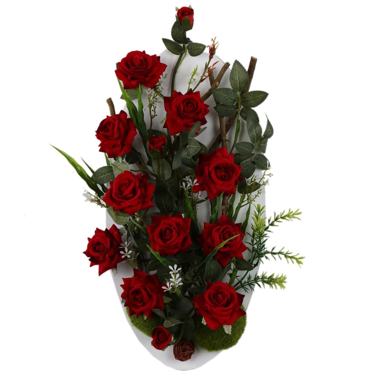 تابلو گل مصنوعی هومز طرح رز قرمز مدل 32582