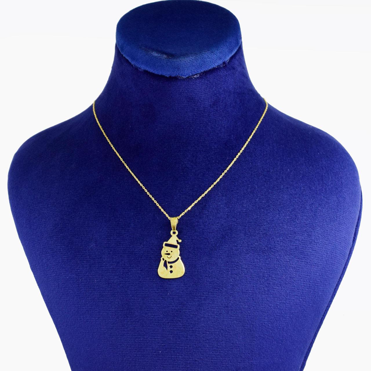 گردنبند طلا 18 عیار زنانه کانیار گالری طرح آدم برفی کد 69