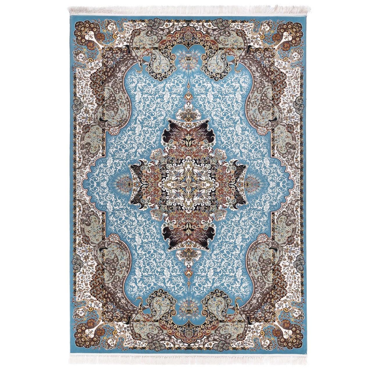فرش ماشینی آدینا طرح الی زمینه آبی
