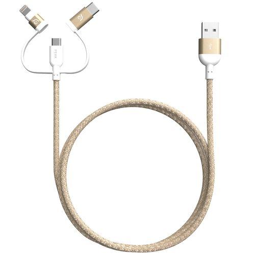 کابل تبدیل USB به microUSB/USB-C/لایتنینگ آدام المنتس مدل PeAk II Trio طول 1.2 متر