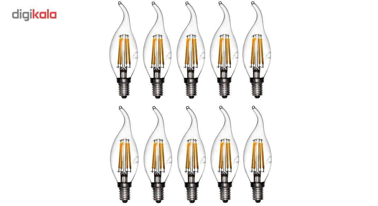 لامپ ال ای دی فیلامنتی 4 وات دیلایت کد 188x10 پایه E14 بسته 10 عددی  main 1 1
