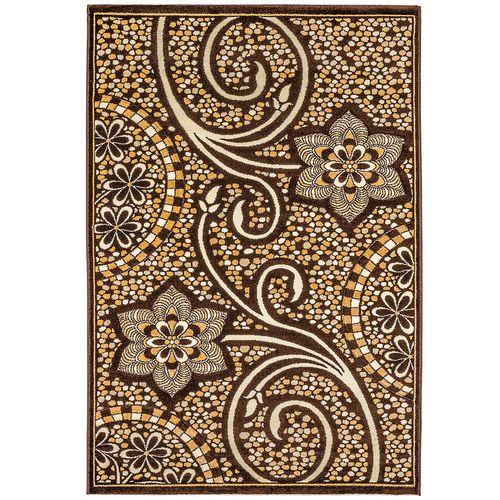 فرش ماشینی سهند کد PI20.X7 طرح فانتزی زمینه قهوه ای