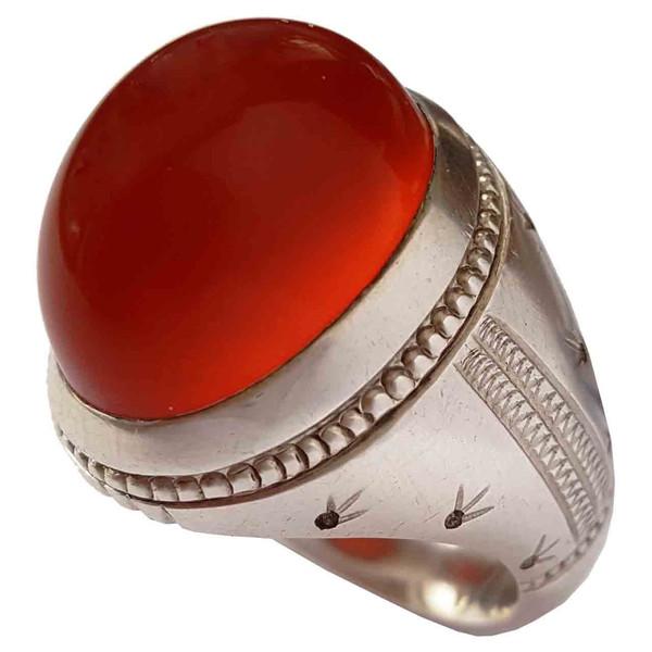 انگشتر نقره جواهرسرا مدل عقیق یمنی a293jw