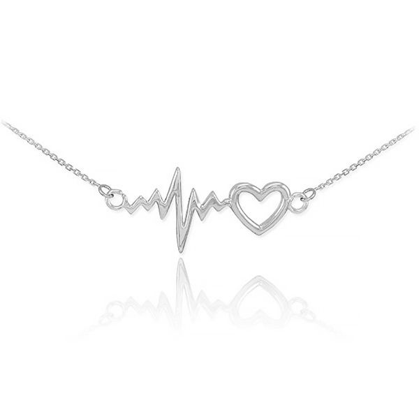 گردنبند نقره ترمه مدل قلب و ضربان Termeh a24