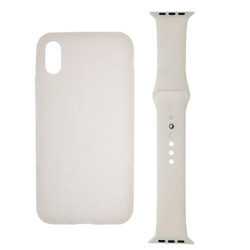 کاور سیلیکونی اپل مناسب برای گوشی موبایل آیفون X و بند سیلیکونی اپل واچ 42 میلیمتری