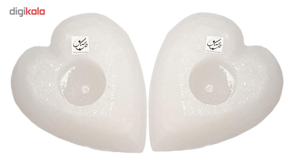 خرید                      شمعدان سنگ نمک طب سنگ طرح جاشمعی قلب کد TC-40112 - بسته دو عددی
