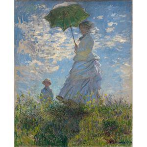 تابلو شاسی گالری هنری پیکاسو طرح زن با یک چتر آفتابی سایز 70x50 سانتی متر