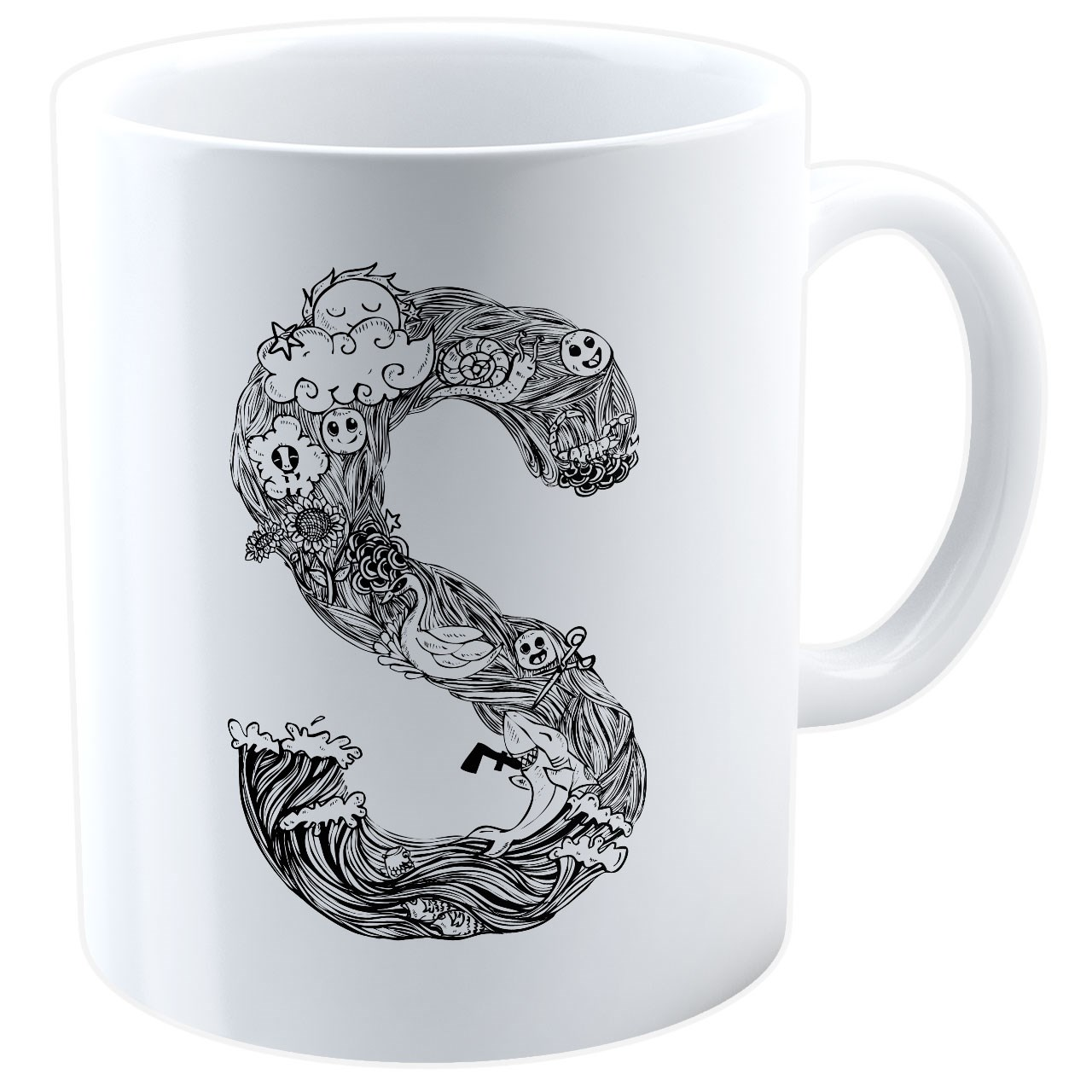 عکس ماگ شین دیزاین طرح حروف اول اسم S کد 4063