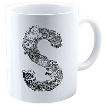 ماگ شین دیزاین طرح حروف اول اسم S کد 4063