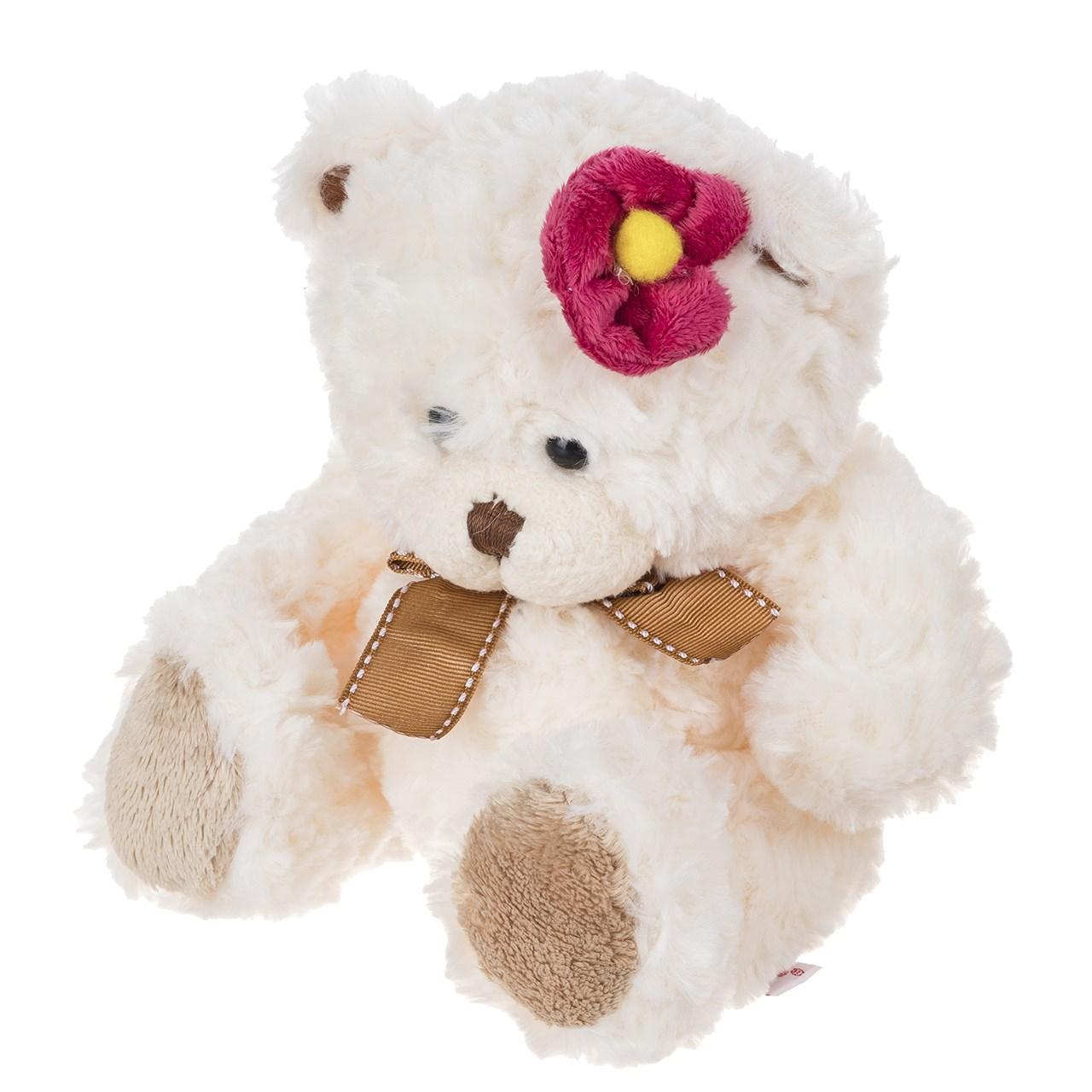 عروسک پاپی لاو مدل Bear With Flower ارتفاع 16.5 سانتی متر