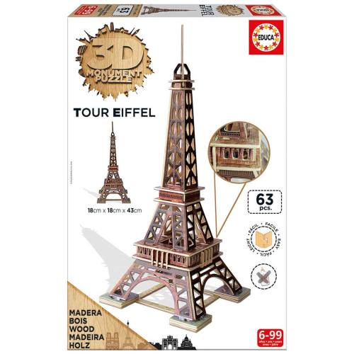 پازل سه بعدی چوبی 63 تکه ادوکا مدل Eiffel Tower
