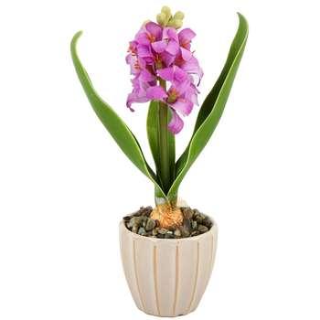 گلدان سرامیک به همراه گل مصنوعی هومز طرح سنبل مدل 30748