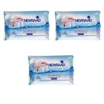 دستمال مرطوب پاک کننده آرایش نیوساد مدل Anti-Bactrial بسته 60 عددی