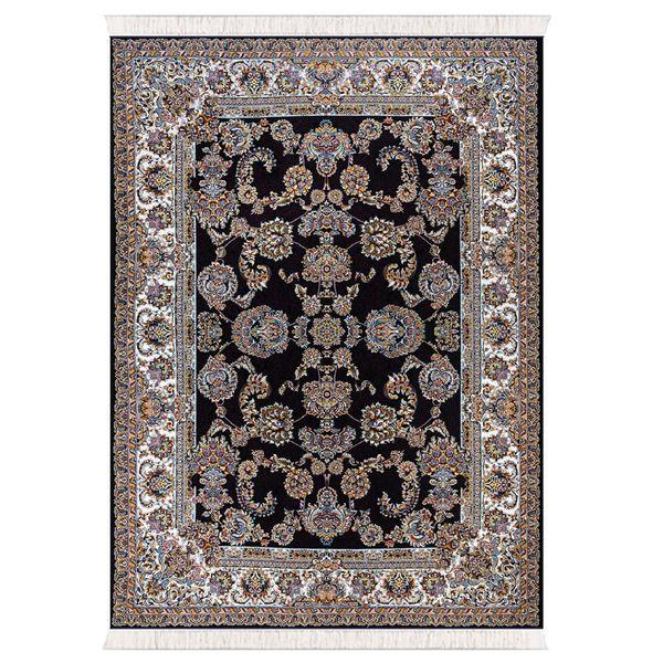 فرش ماشینی تاپ طرح رازقی زمینه مشکی