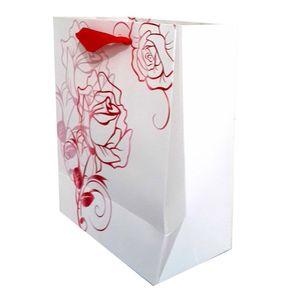 پاکت هدیه عمودی طرح گل قرمز