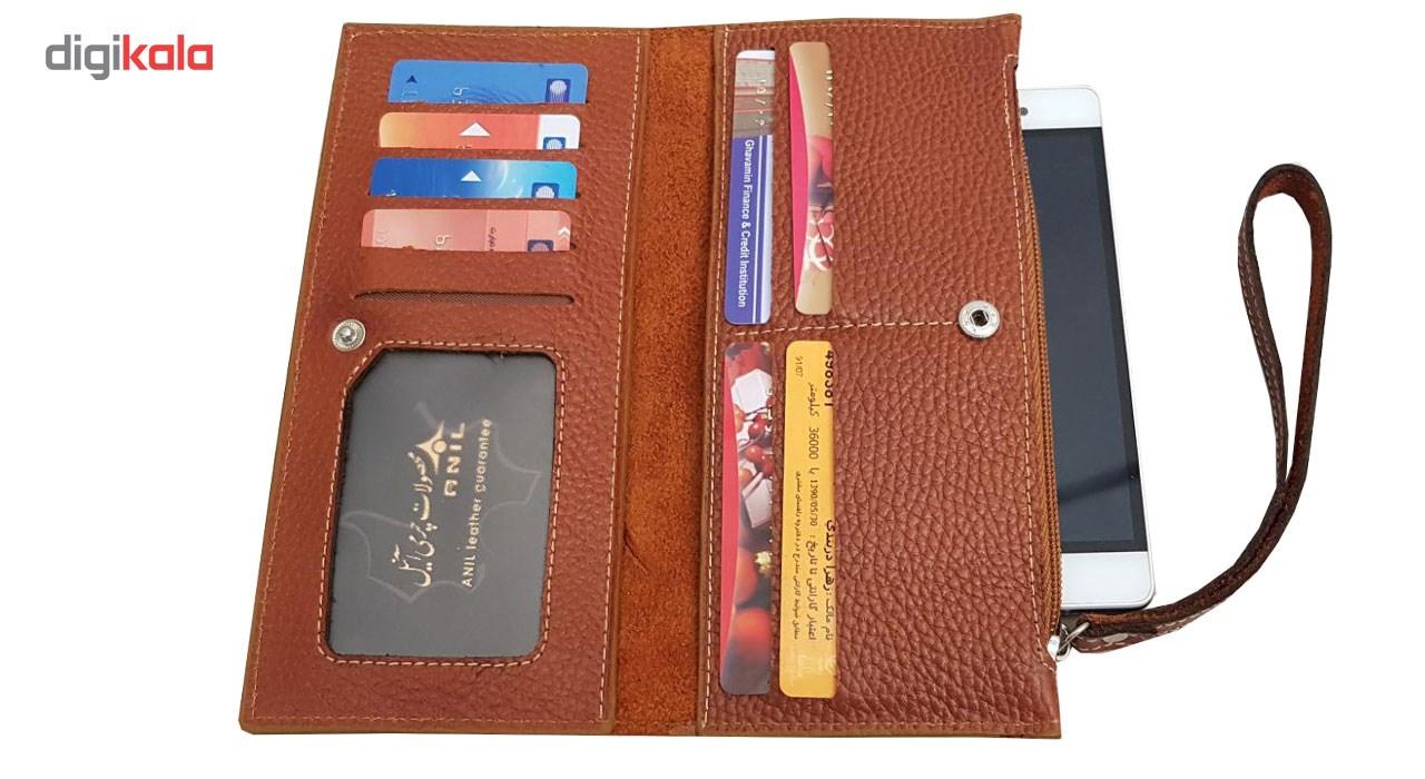 کیف پول و موبایل طرح فلوتر چرم آنیل مدل araz -  - 4